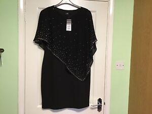 Wallis Dress Size 16 Black With Silver Studs