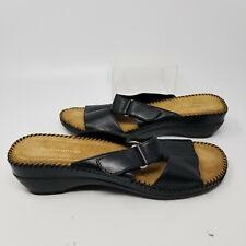 Naturalizer Black Leather Strap Open Toe Slip On Sandal Slides Women Size 9.5