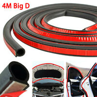 4M Car Door Seal Strip Sloping D-Shaped Rubber Trunk Hood Edge Insulation Trim