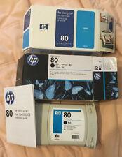 GENUINE HP #80 BLACK & Cyan #80 CARTRIDGE C4871A & C4872A DESIGNJET 1000