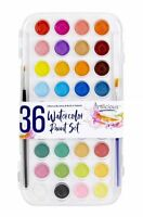 Artlicious 36 Watercolor Cakes Paint Set with Built In Palette Case & Brushes