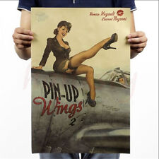 New PIN UP Girl World War 2 Vintage Kraft Paper Poster Pub Bar Room Wall Picture