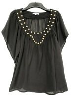 MOOLOOLA Size 10 Short Ruffle Sleeve Sheer Studded Casual Elegant Top Black