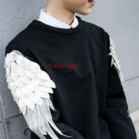 Korean Vogue Men's Crew Neck Wing Sleeves T-Shirt Pullover Slim Fit fashion tops