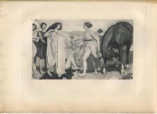 ANTIQUE  ARTISTIC NUDE WOMAN NAUSICAA EQUESTRIAN HORSE GRECIAN SPORTING PRINT