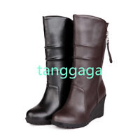 Women Knee High Riding Boots Wedge Heels Round Toe Zipper Casual Shoes Size
