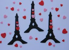12 edible EIFFEL TOWER & 40 LOVE HEARTS cake topper decorations WEDDING paris