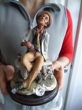 Large Capodimonte Figurine of a Seated Drunk & His Dog on Wooden Base by Rori 8""