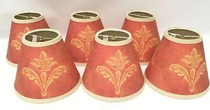 "Set of 6 Fleur de Lis Chandelier Light Lamp Clip On Shades 5"" Coral Brand new"