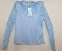 Valleygirl Brand Sky Blue Long Sleeve Lacey Blouse Top Size S BNWT #RE73