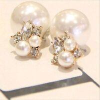 Damen Silber Perle Strass Doppel mit 2 Perlen Ohrringe Ohrstecker