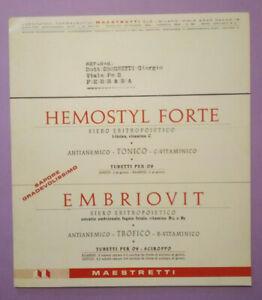 Pubblicita'Advertising Stampa Farmaceutica Vintage HEMOSTYL FORTE EMBRIOVIT