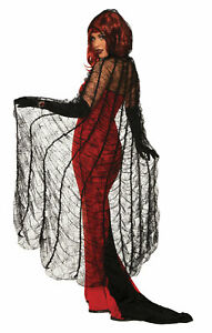 Black Widow Spider Web Cape Adult Costume Accessory NEW Witch