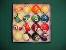 MARBLED BILLIARD BALLS AS SEEN ON TV pool billiards CARLSCUES EBAY BN1-0021