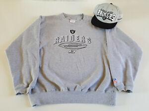 Vintage REEBOK x NFL OAKLAND RAIDERS Crewneck Sweater & Matching Hat Rare Clean