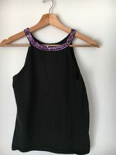 Dorothy Perkins Black Wool Strappy Sequin top Size 16 <T5385