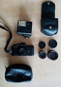 Pentax Auto 110 + Objektive + Blitz-analoge vintage kleine Kamera - works