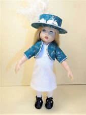 "Fancy Feather Hat w/ Jacket+White Dress for Kish'S Riley 8"" Dolls by Beth Hogan"