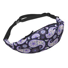 Fashion Sports Hiking Running Belt Waist Bag Pouch Zip Fanny Pack(black pur S4N3