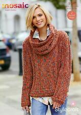 Stylecraft 9197 Knitting Pattern Wide Rib Sweater & Cowl in Mosaic Super Chunky