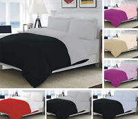 PLAIN DUVET COVER BEDDING SET WITH PILLOWCASES REVERSIBLE / DEEP FITTED SHEET