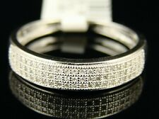 10K Mens White Gold Wedding Band Diamond Ring 5 Mm 1/4
