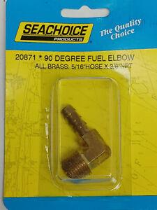 "Boat lawnmower carburetor fuel pump brass 90 degree fitting 5/16"" hose X 3/8 NPT"