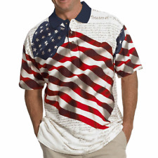 Patriotic Polo Shirt American Flag Eagle Declaration of Independence