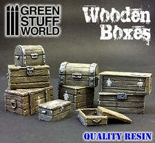 Resin Crates Set - Wooden Boxes - Basing Wargames Scenery Miniature Bases