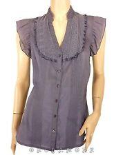 Chemiser Haut EDC Volant T 38 M 1 Graphique Gris TBE Blouse Bluse Blusa Tunique