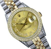 Rolex Mens Datejust 16013 Two-tone 36mm Diamond Roman Dial Lugs Bezel Watch