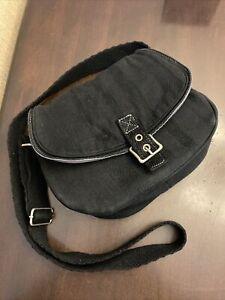 Thirty-One Black Cotton Crossbody Saddle Bag Shoulder Bag Purse Adj. Strap Wow!