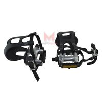 "NEW! Bicycle Alloy Pedals With Toe Clips & Straps 9/16"" Black MTB BMX ROAD BIKE"