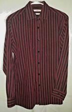 Moda Campia Shirt Men's Slim Fit Long Sleeve Button Down Maroon/black Medium E68
