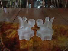 Pair of Satin Glass Angel's On a Star Candlestick Holders