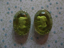 Glass Cameos 25X18mm Oval Cabochons Green Olivine Reverse Carved Intaglio German