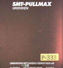 Pullmax Ursviken EKP UP 3506, Press Brake, Instructions and Parts Manual 1978