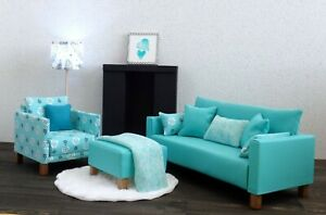 3 piece sofa/ottoman 1 chair in 1/6 scale doll house furniture set in Aqua color