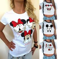 Mickey Minnie Shirt Tees Tops Cartoon Printed Girls Shirt Summer Women's T-shirt