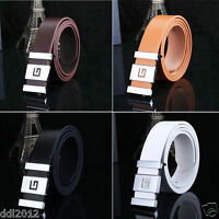 Fashion Men's Casual Faux Leather Belt Buckle Waist Strap Belts Smooth Waistband