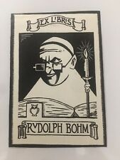 Rudolph Bohm (German Politician) Book plate Monk Christianity Owl Of Knowledge