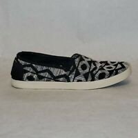 Toms Womens Black White Woven Slip On Flats Shoes Size W11 SWIRL Classic