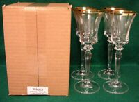 Mikasa JAMESTOWN GOLD Wine Glasses SET of FOUR More Items Available MINT IN BOX