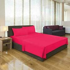 Deep Pocket Microfiber 1800 Count Solid Color Bed Sheet With Pillow Cover Pink