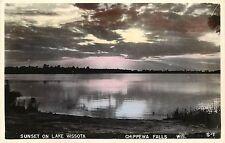 Hand-Colored RPPC Postcard; Sunset on Lake Wissota, Chippewa Falls WI Unposted