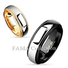 Stylish FAMA Milled Edge Two Tone IP Stainless Steel Couples Ring Band Size 5-12