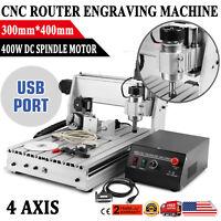 4 Axis CNC Router Engraving Machine 3040T Engraver T-SCREW Desktop Wood Carving