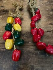 Set Of Ceramic Peppers On A Rope & Strawberries On A Rope