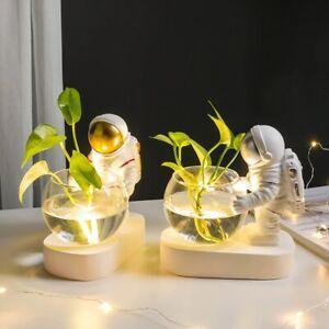 Creative Glass Bowl LED Plug Astronaut Ornament Planter Hydroponics Desktop Deco