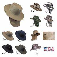 Hunting Fishing Hiking Garden Army Snap Brim Neck Cover Cowboy Summer Bonnie Cap